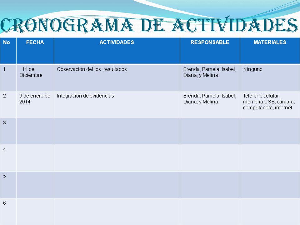 CRONOGRAMA DE ACTIVIDADES NoFECHAACTIVIDADESRESPONSABLEMATERIALES 1 16 de Octubre Observación del comportamiento de los alumnos en clase y en el reces