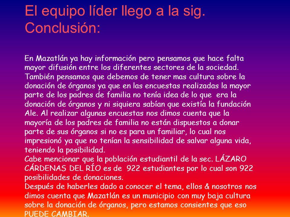 El equipo líder llego a la sig. Conclusión: En Mazatlán ya hay información pero pensamos que hace falta mayor difusión entre los diferentes sectores d