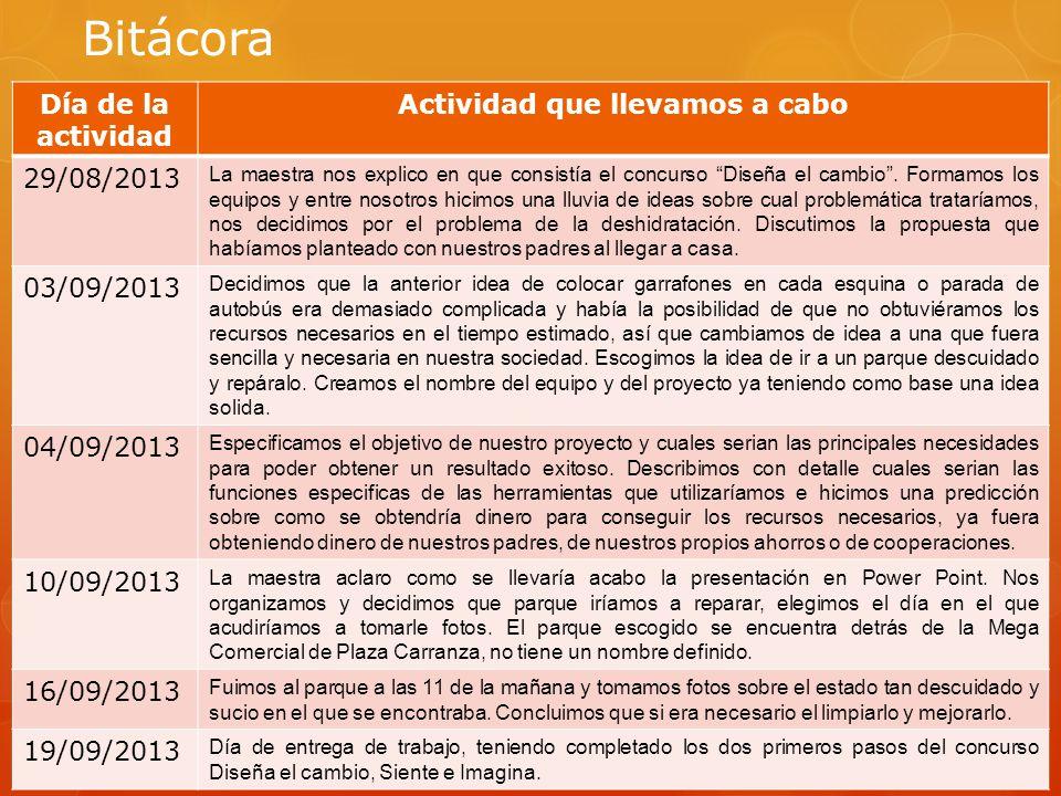 Día de la actividad Actividad que llevamos a cabo 29/08/2013 La maestra nos explico en que consistía el concurso Diseña el cambio. Formamos los equipo