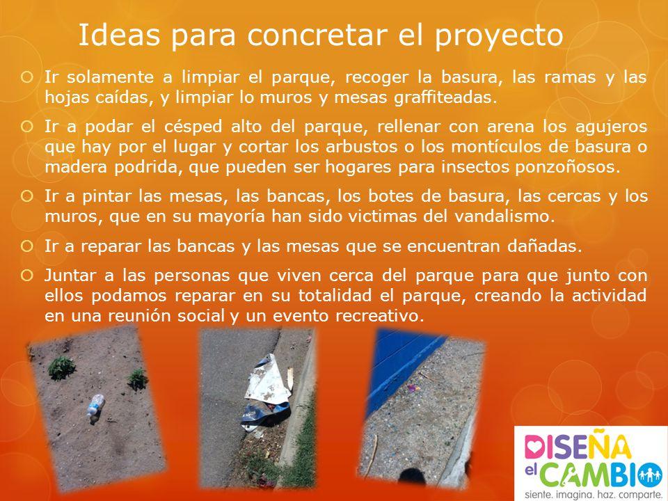 Ideas para concretar el proyecto Ir solamente a limpiar el parque, recoger la basura, las ramas y las hojas caídas, y limpiar lo muros y mesas graffiteadas.