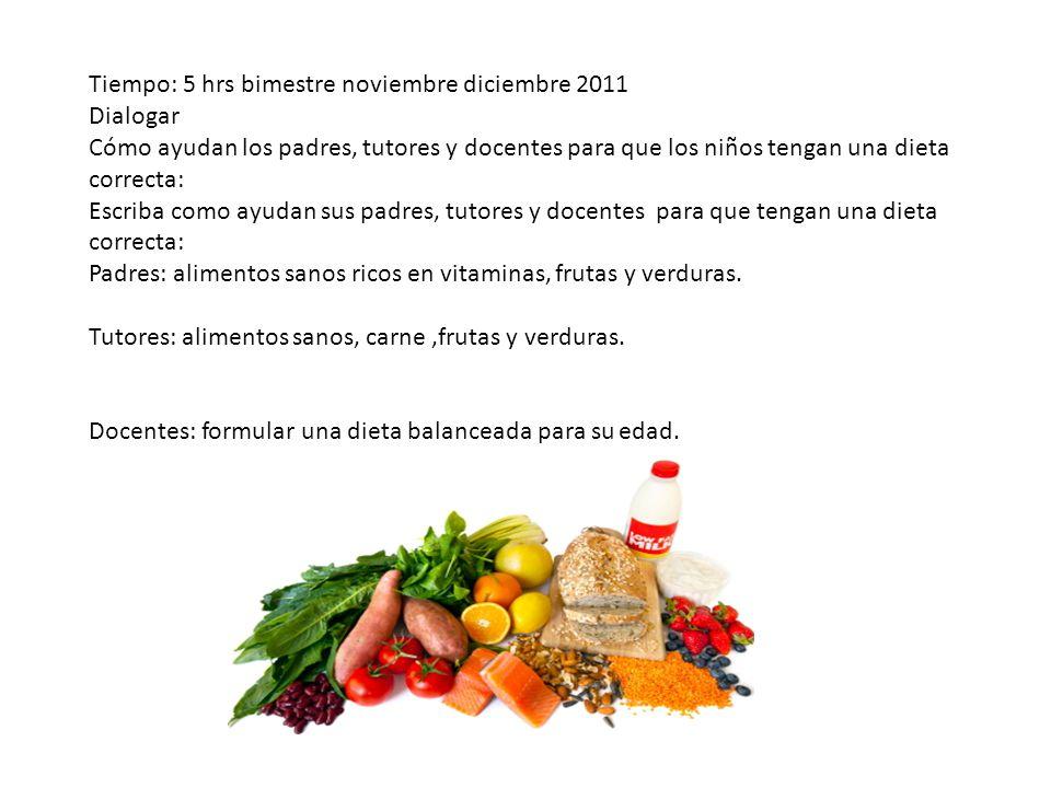Tiempo: 5 hrs bimestre noviembre diciembre 2011 Dialogar Cómo ayudan los padres, tutores y docentes para que los niños tengan una dieta correcta: Escr