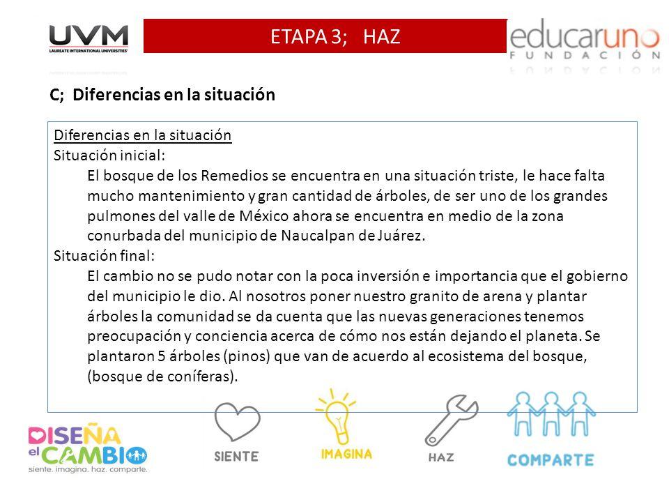 ETAPA 3; HAZ C; Diferencias en la situación Diferencias en la situación Situación inicial: El bosque de los Remedios se encuentra en una situación tri