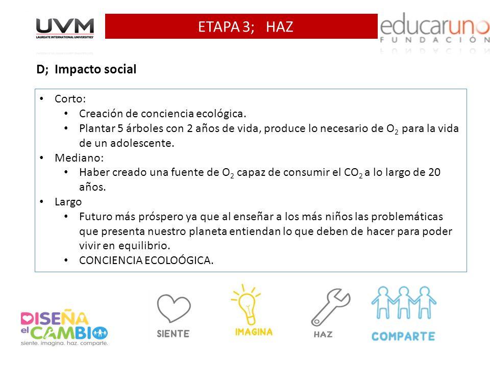 ETAPA 3; HAZ D; Impacto social Corto: Creación de conciencia ecológica. Plantar 5 árboles con 2 años de vida, produce lo necesario de O 2 para la vida