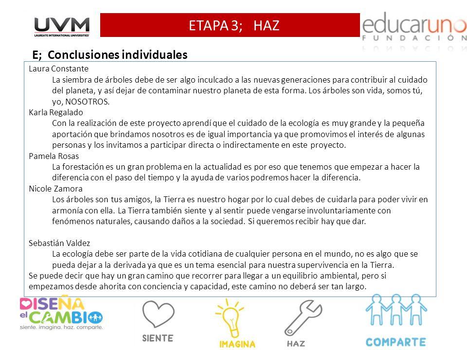 ETAPA 3; HAZ E; Conclusiones individuales Laura Constante La siembra de árboles debe de ser algo inculcado a las nuevas generaciones para contribuir a