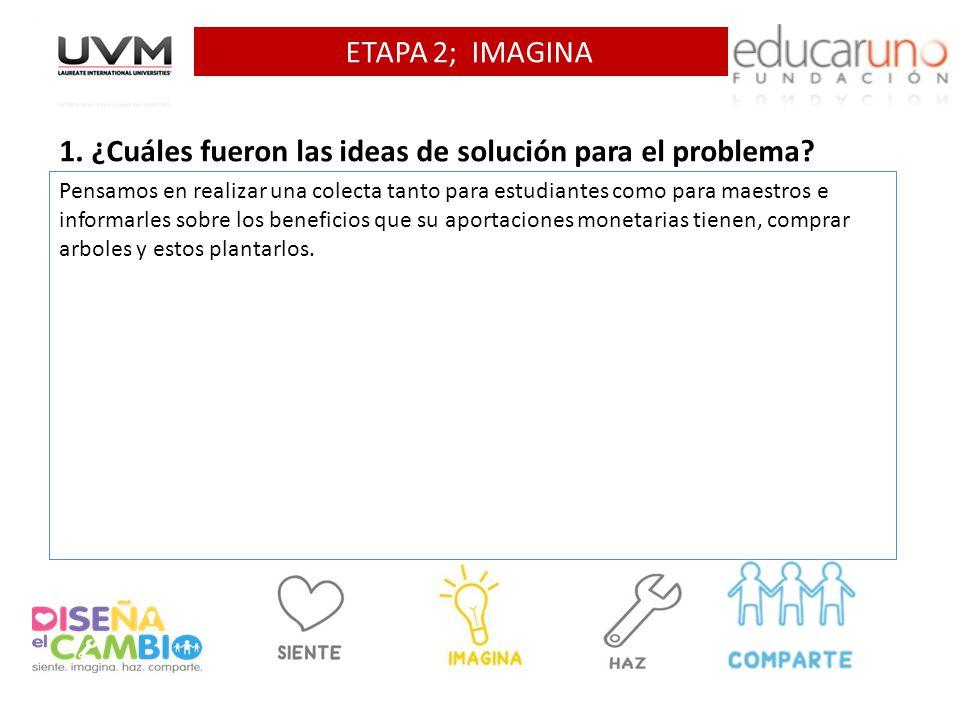 ETAPA 2; IMAGINA 1. ¿Cuáles fueron las ideas de solución para el problema? Pensamos en realizar una colecta tanto para estudiantes como para maestros