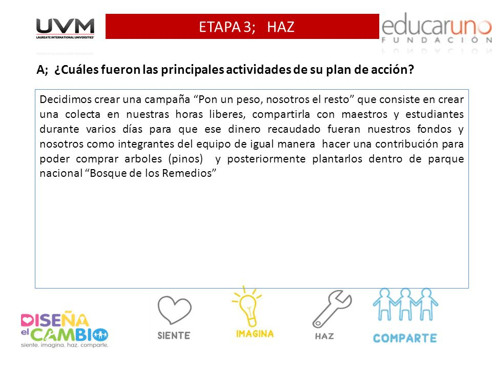 ETAPA 3; HAZ A; ¿Cuáles fueron las principales actividades de su plan de acción? Decidimos crear una campaña Pon un peso, nosotros el resto que consis