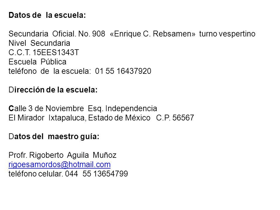 Datos de la escuela: Secundaria Oficial.No. 908 «Enrique C.