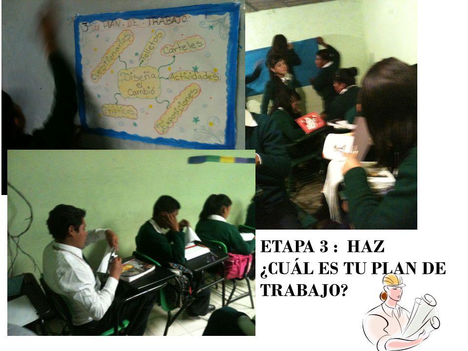 Alumnos de la escuela realizando sus trípticos, carteles, participando con el equipo de diseña el cambio