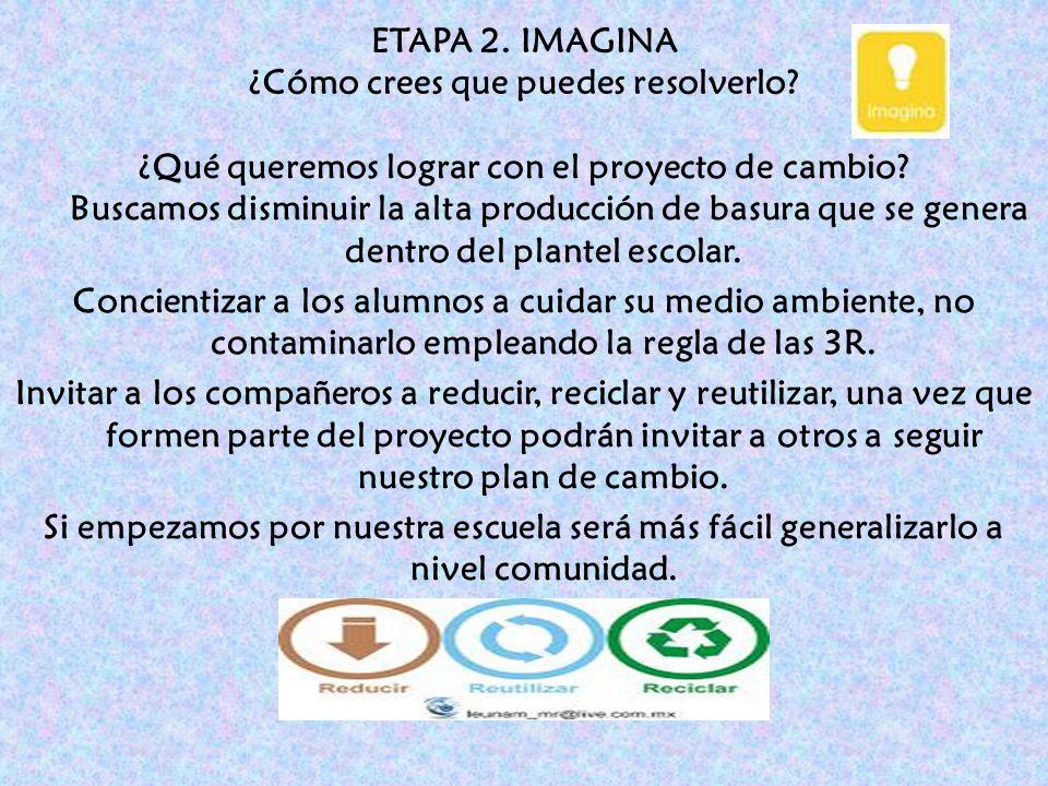 ETAPA 2. IMAGINA ¿Cómo crees que puedes resolverlo? ¿Qué queremos lograr con el proyecto de cambio? Buscamos disminuir la alta producción de basura qu