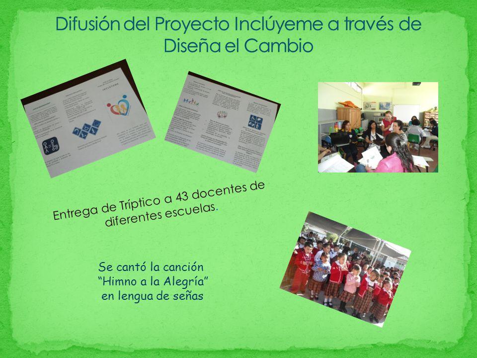 Entrega de Tríptico a 43 docentes de diferentes escuelas. Se cantó la canción Himno a la Alegría en lengua de señas