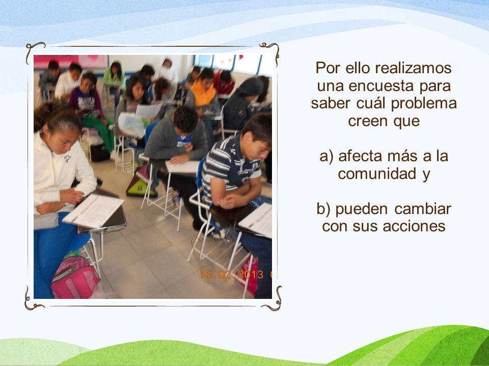Los alumnos deciden que un problema importante sobre el cuál pueden actuar y resolver es la excesiva generación de residuos sólidos orgánicos