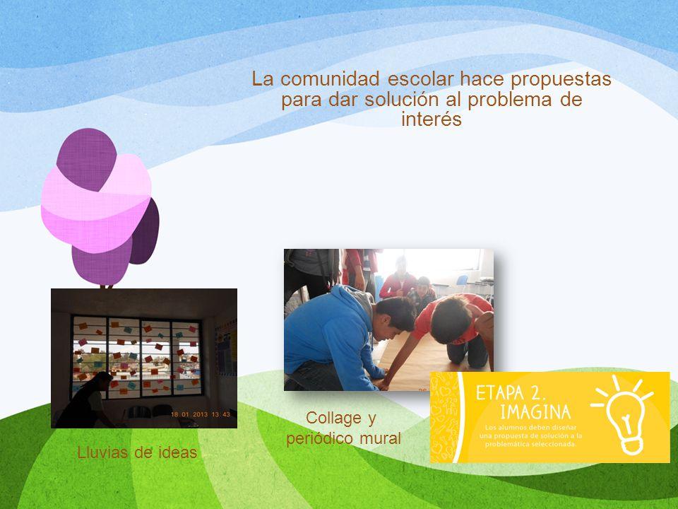 La comunidad escolar hace propuestas para dar solución al problema de interés Lluvias de ideas Collage y periódico mural