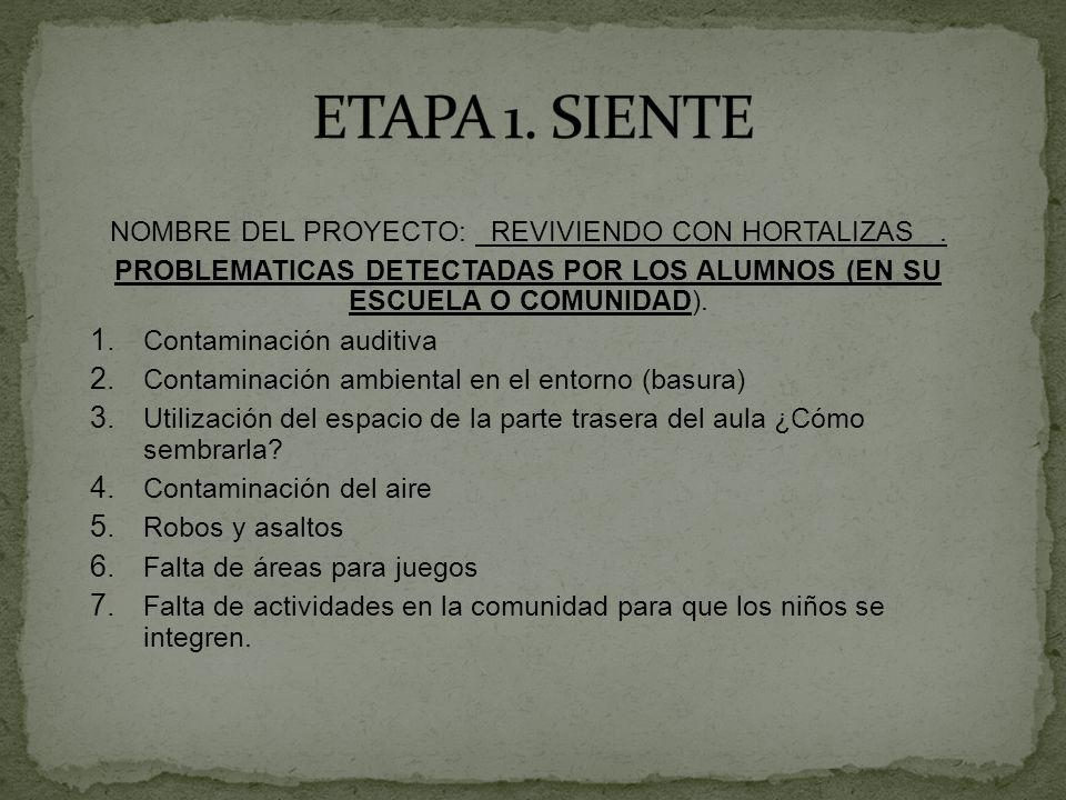 NOMBRE DEL PROYECTO: REVIVIENDO CON HORTALIZAS. PROBLEMATICAS DETECTADAS POR LOS ALUMNOS (EN SU ESCUELA O COMUNIDAD). 1. Contaminación auditiva 2. Con