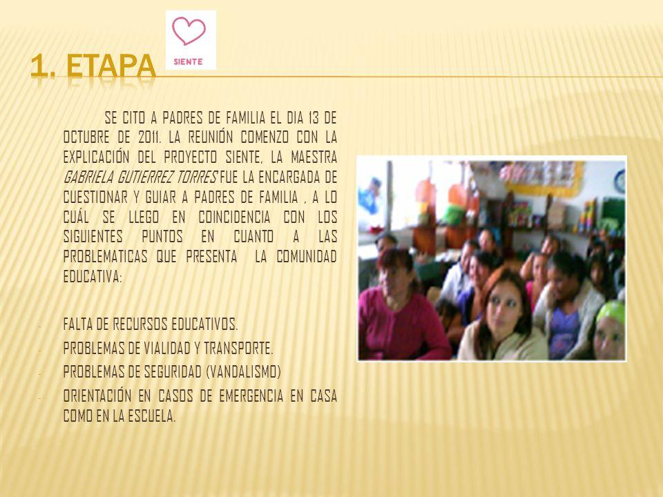 LA SEGUNDA REUNIÓN PARA DAR SEGUIMIENTO AL PROYECTO FUE EL DÍA 21 DE OCTUBRE DE 2011.