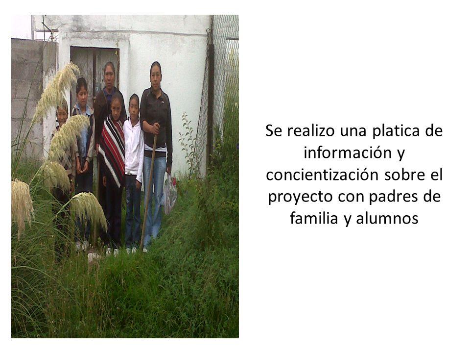 Se realizo limpieza de algunas áreas para instalar el vivero con el apoyo de los padres y alumnos