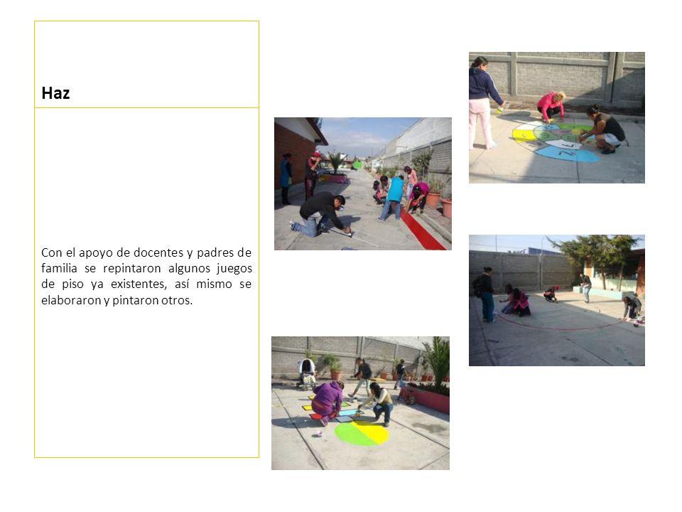 Comparte *La escuela tuvo un cambio notorio, del cual los niños se percataron, interesándose en como jugar, ya que de la mayoría de juegos de piso no tenían conocimientos de la forma de jugarlo a excepción del avión.