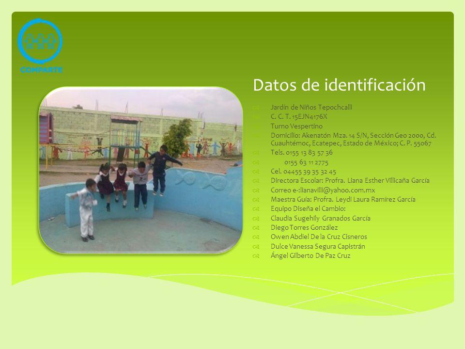 Datos de identificación Jardín de Niños Tepochcalli C. C. T. 15EJN4176X Turno Vespertino Domicilio: Akenatón Mza. 14 S/N, Sección Geo 2000, Cd. Cuauht