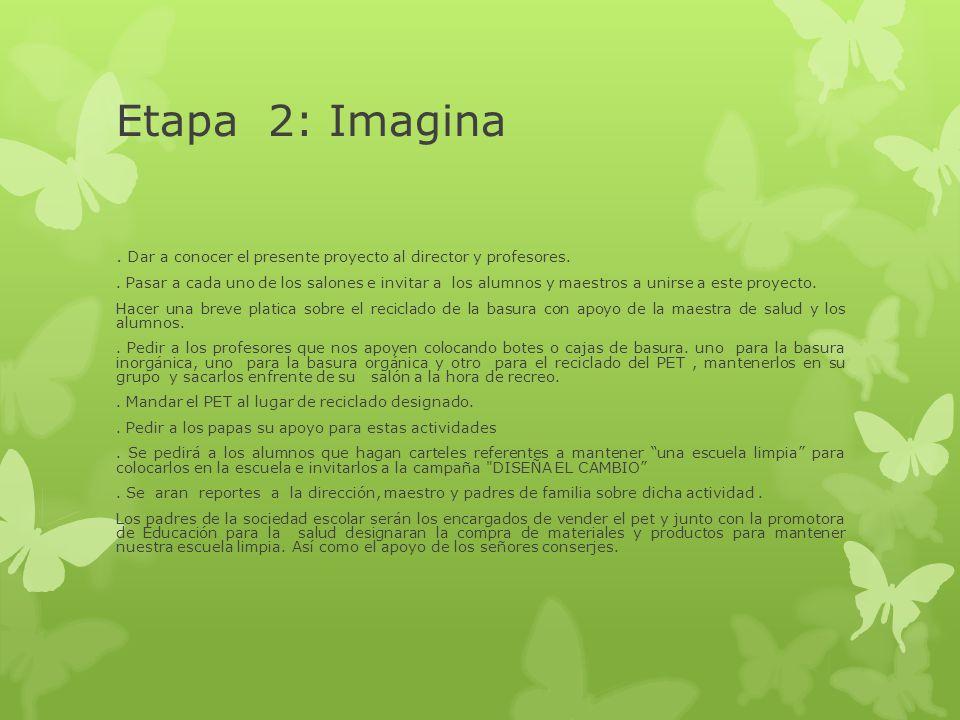 Etapa 2: Imagina. Dar a conocer el presente proyecto al director y profesores.. Pasar a cada uno de los salones e invitar a los alumnos y maestros a u