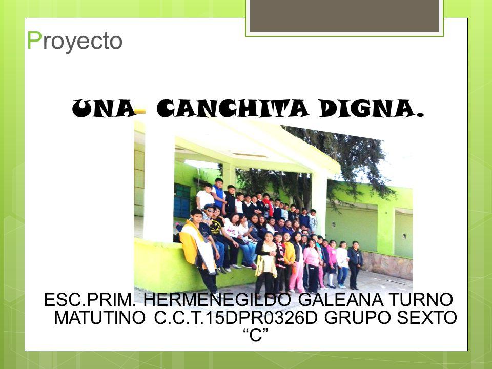 Proyecto UNA CANCHITA DIGNA. ESC.PRIM. HERMENEGILDO GALEANA TURNO MATUTINO C.C.T.15DPR0326D GRUPO SEXTO C