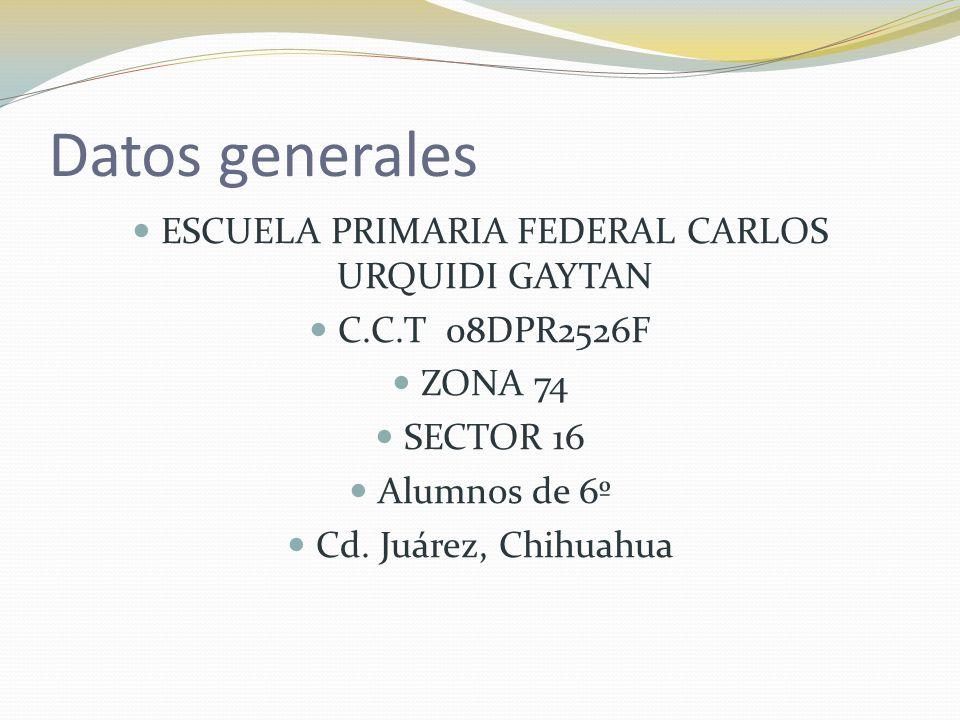 Datos generales ESCUELA PRIMARIA FEDERAL CARLOS URQUIDI GAYTAN C.C.T 08DPR2526F ZONA 74 SECTOR 16 Alumnos de 6º Cd. Juárez, Chihuahua