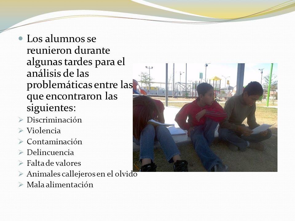 Los alumnos se reunieron durante algunas tardes para el análisis de las problemáticas entre las que encontraron las siguientes: Discriminación Violenc