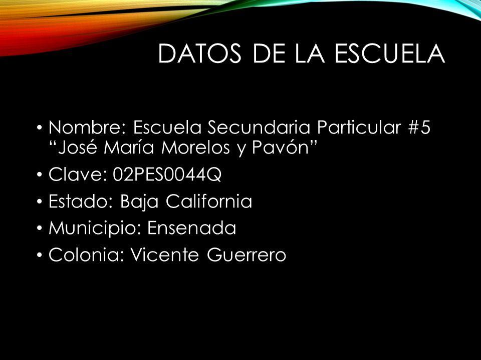 DATOS DE LA ESCUELA Nombre: Escuela Secundaria Particular #5 José María Morelos y Pavón Clave: 02PES0044Q Estado: Baja California Municipio: Ensenada