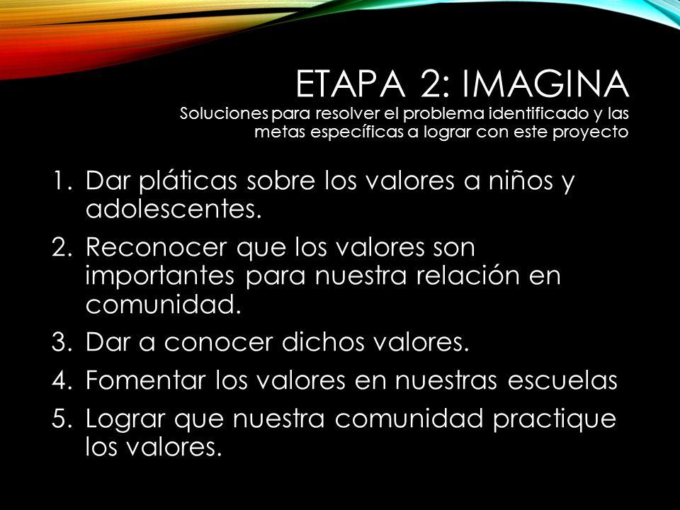 ETAPA 2: IMAGINA Soluciones para resolver el problema identificado y las metas específicas a lograr con este proyecto 1.Dar pláticas sobre los valores