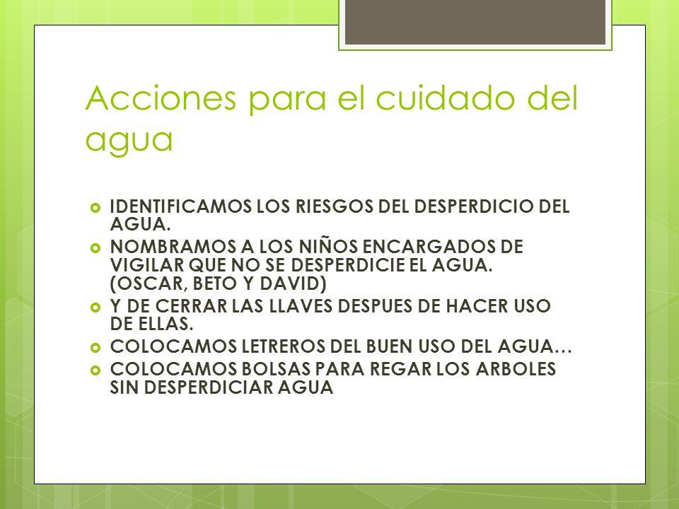 Acciones para el cuidado del agua IDENTIFICAMOS LOS RIESGOS DEL DESPERDICIO DEL AGUA.