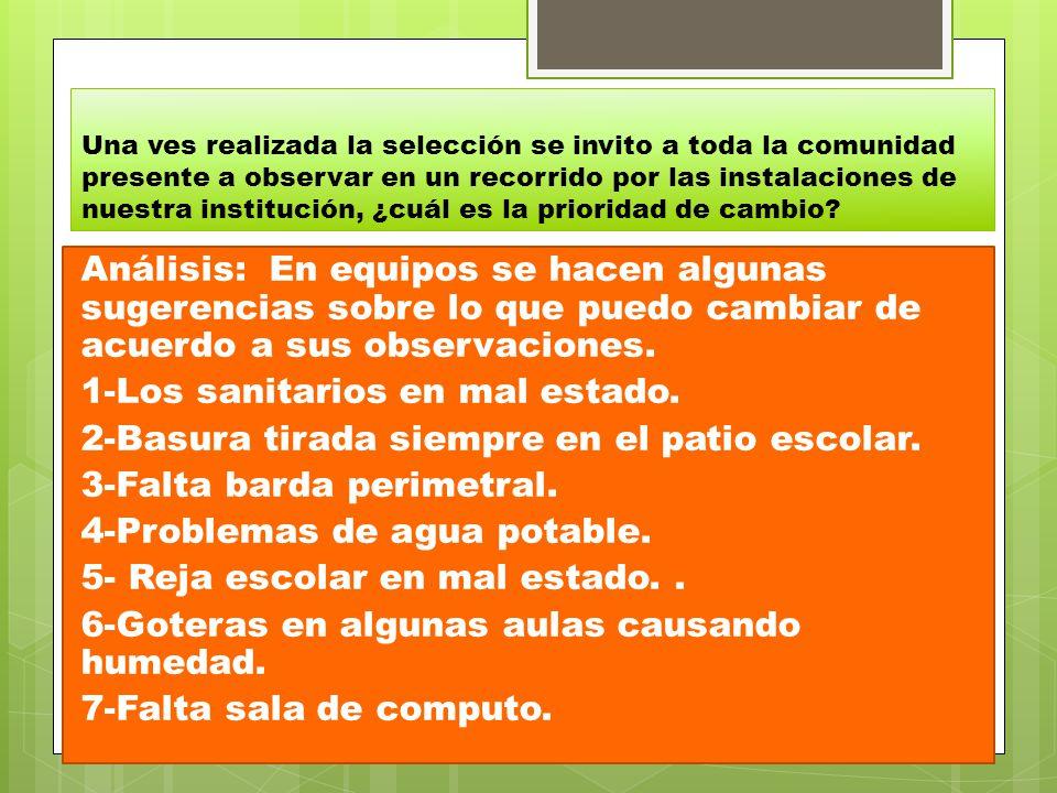8-Se requieren banquetas fuera de la escuela.9-Rehabilitación de la electricidad.
