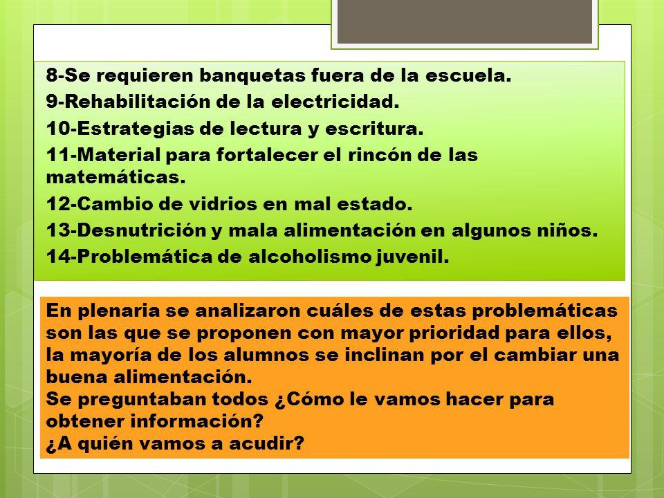 8-Se requieren banquetas fuera de la escuela. 9-Rehabilitación de la electricidad. 10-Estrategias de lectura y escritura. 11-Material para fortalecer