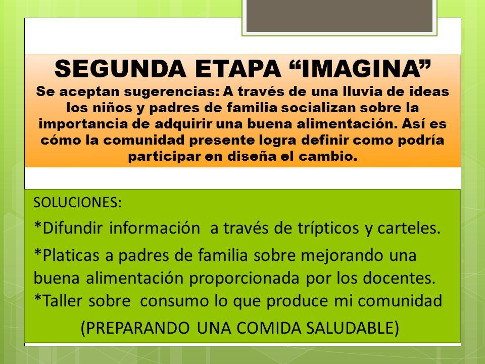 TERCERA ETAPA HAZ SOLUCIONESRESPONSABLEAPOYO -Difundir trípticos y carteles sobre ¿ Cómo mejorar nuestra alimentación .