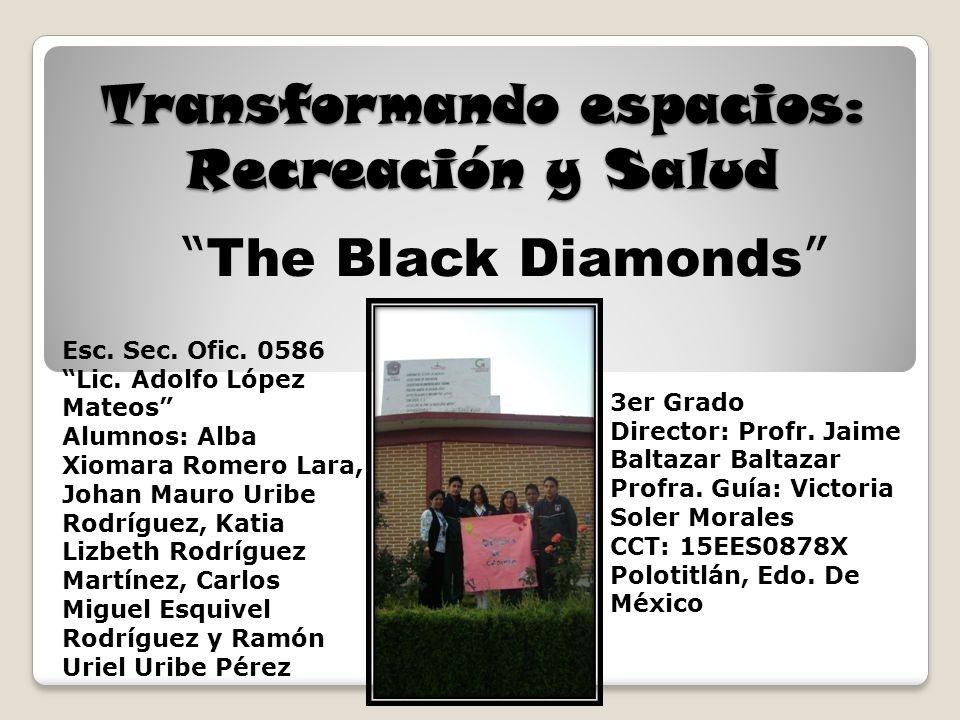 Transformando espacios: Recreación y Salud The Black Diamonds Esc. Sec. Ofic. 0586 Lic. Adolfo López Mateos Alumnos: Alba Xiomara Romero Lara, Johan M