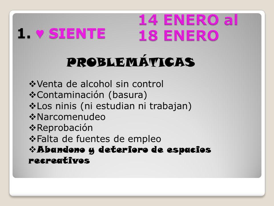 1. SIENTE PROBLEMÁTICAS Venta de alcohol sin control Contaminación (basura) Los ninis (ni estudian ni trabajan) Narcomenudeo Reprobación Falta de fuen