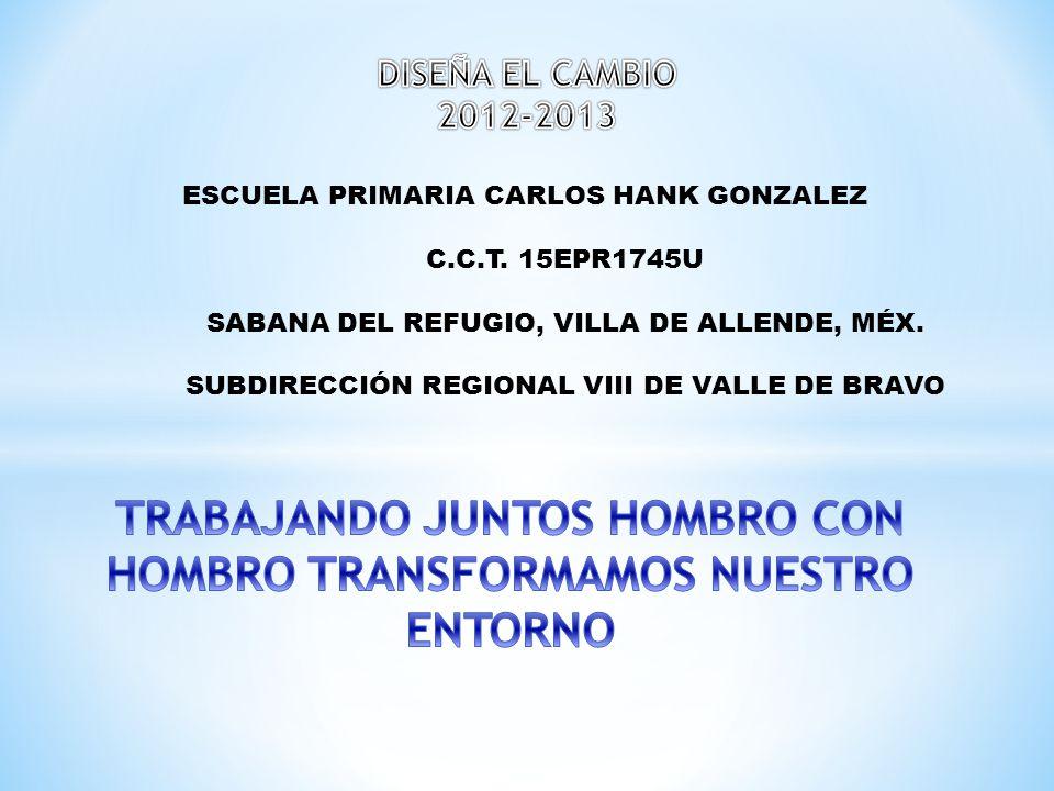 ESCUELA PRIMARIA CARLOS HANK GONZALEZ C.C.T. 15EPR1745U SABANA DEL REFUGIO, VILLA DE ALLENDE, MÉX. SUBDIRECCIÓN REGIONAL VIII DE VALLE DE BRAVO