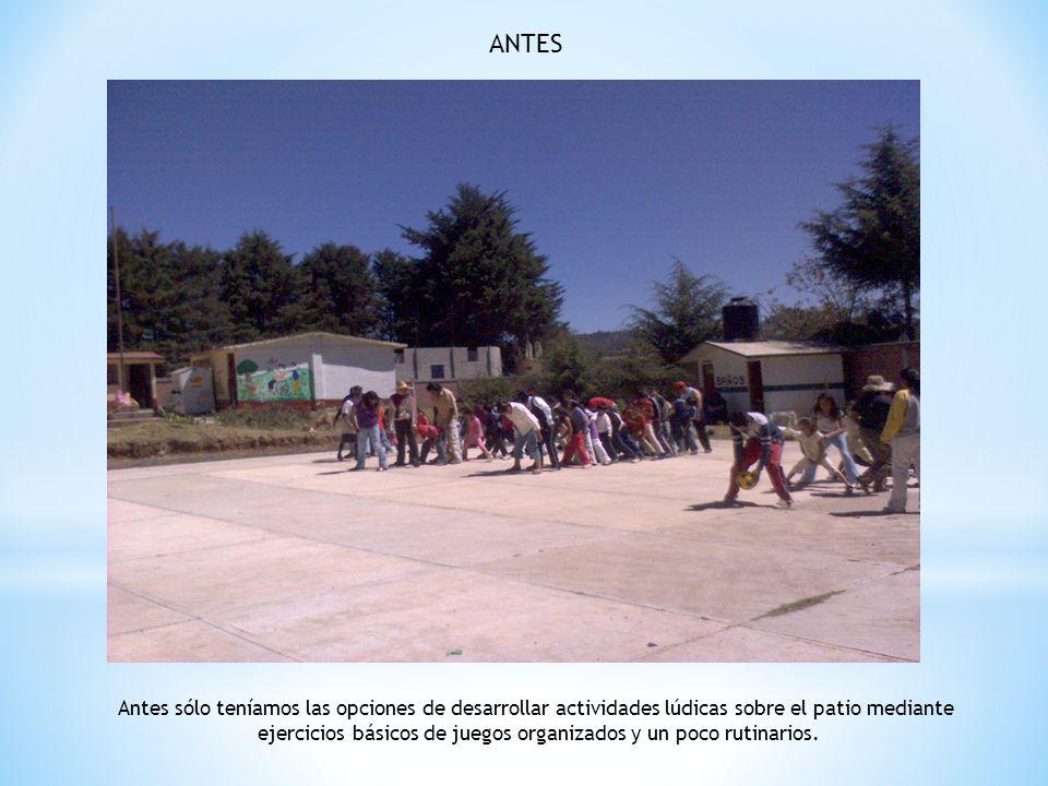 ANTES Antes sólo teníamos las opciones de desarrollar actividades lúdicas sobre el patio mediante ejercicios básicos de juegos organizados y un poco r
