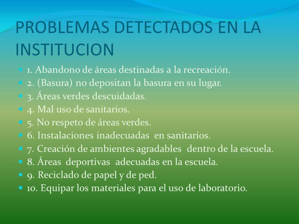 PROBLEMAS DETECTADOS EN LA INSTITUCION 1.Abandono de áreas destinadas a la recreación.