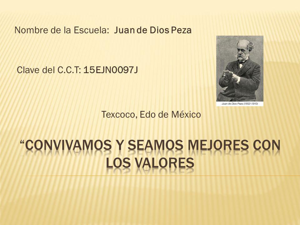 Nombre de la Escuela: Juan de Dios Peza Clave del C.C.T: 15EJN0097J Texcoco, Edo de México
