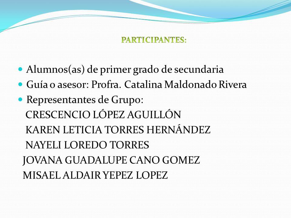 Alumnos(as) de primer grado de secundaria Guía o asesor: Profra. Catalina Maldonado Rivera Representantes de Grupo: CRESCENCIO LÓPEZ AGUILLÓN KAREN LE