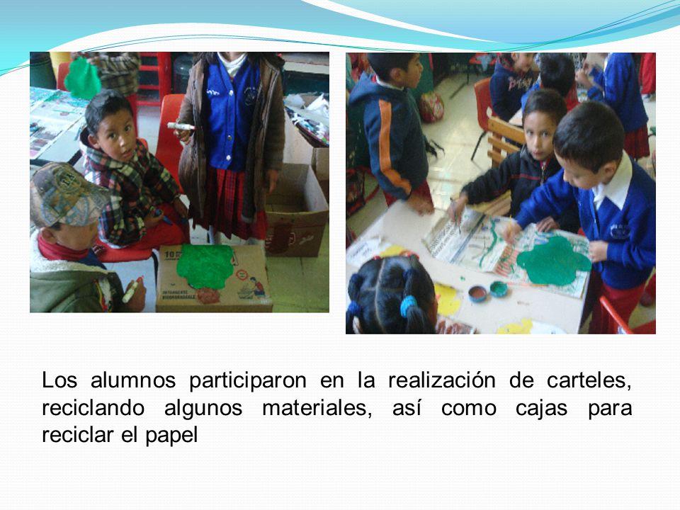 Los alumnos participaron en la realización de carteles, reciclando algunos materiales, así como cajas para reciclar el papel