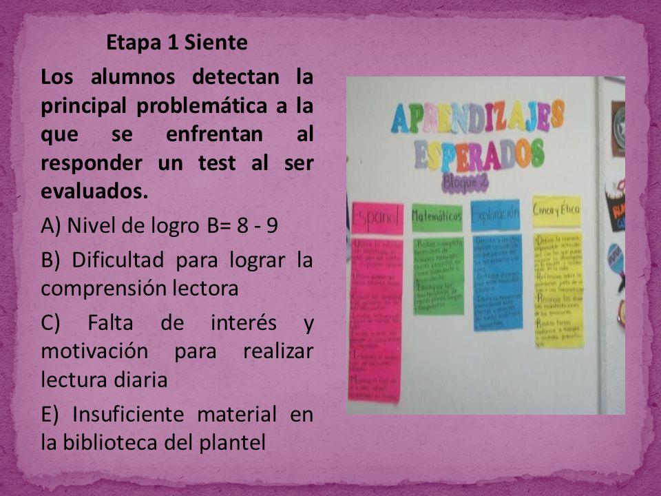 Etapa 1 Siente Los alumnos detectan la principal problemática a la que se enfrentan al responder un test al ser evaluados.