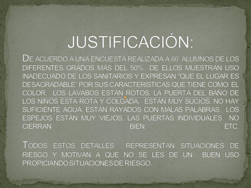 CAMBIAR EL ASPECTO DE LOS SANITARIOS Y ASÍ SE VEA COMO UN ESPACIO AGRADABLE VALORANDO LA IMPORTANCIA DE CONTAR CON ESE ESPACIO EN NUESTRA ESCUELA.