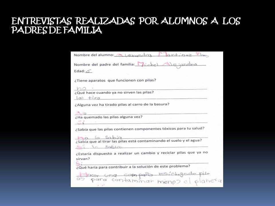 ENTREVISTAS REALIZADAS POR ALUMNOS A LOS PADRES DE FAMILIA