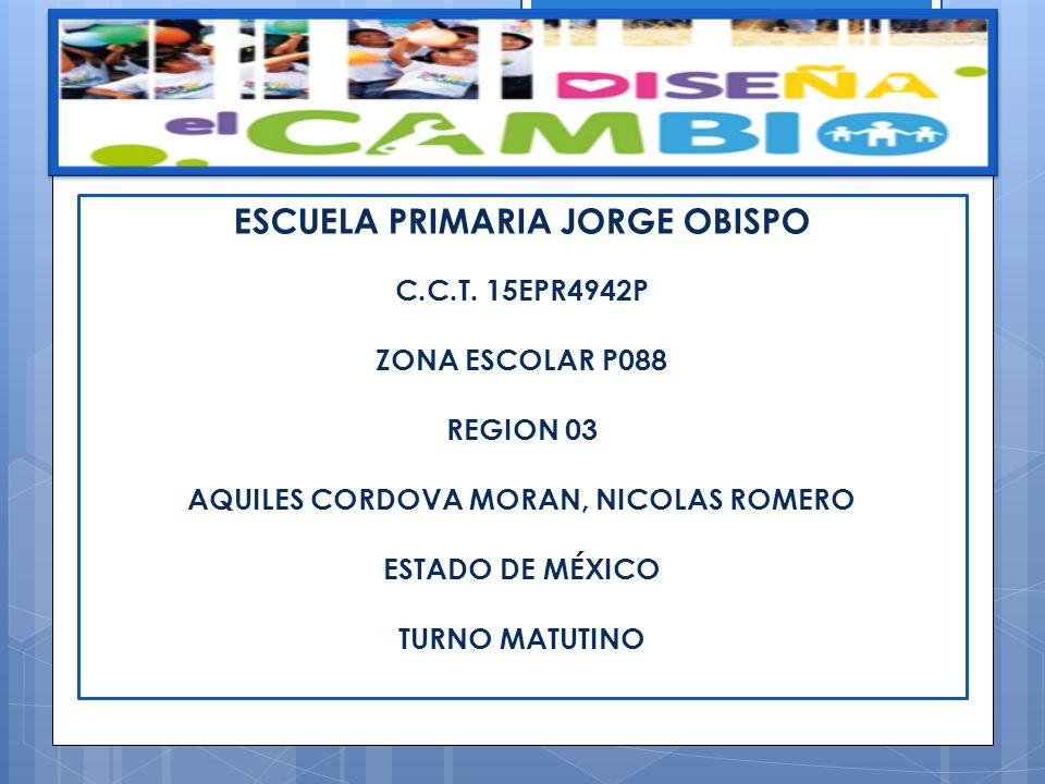ESCUELA PRIMARIA JORGE OBISPO C.C.T. 15EPR4942P ZONA ESCOLAR P088 REGION 03 AQUILES CORDOVA MORAN, NICOLAS ROMERO ESTADO DE MÉXICO TURNO MATUTINO