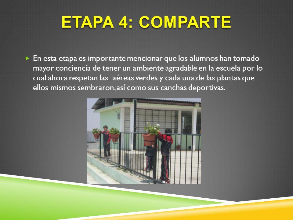 ETAPA 4: COMPARTE En esta etapa es importante mencionar que los alumnos han tomado mayor conciencia de tener un ambiente agradable en la escuela por l
