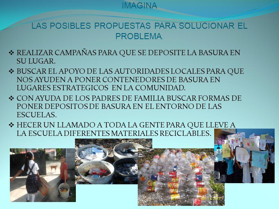 IMAGINA LAS POSIBLES PROPUESTAS PARA SOLUCIONAR EL PROBLEMA.