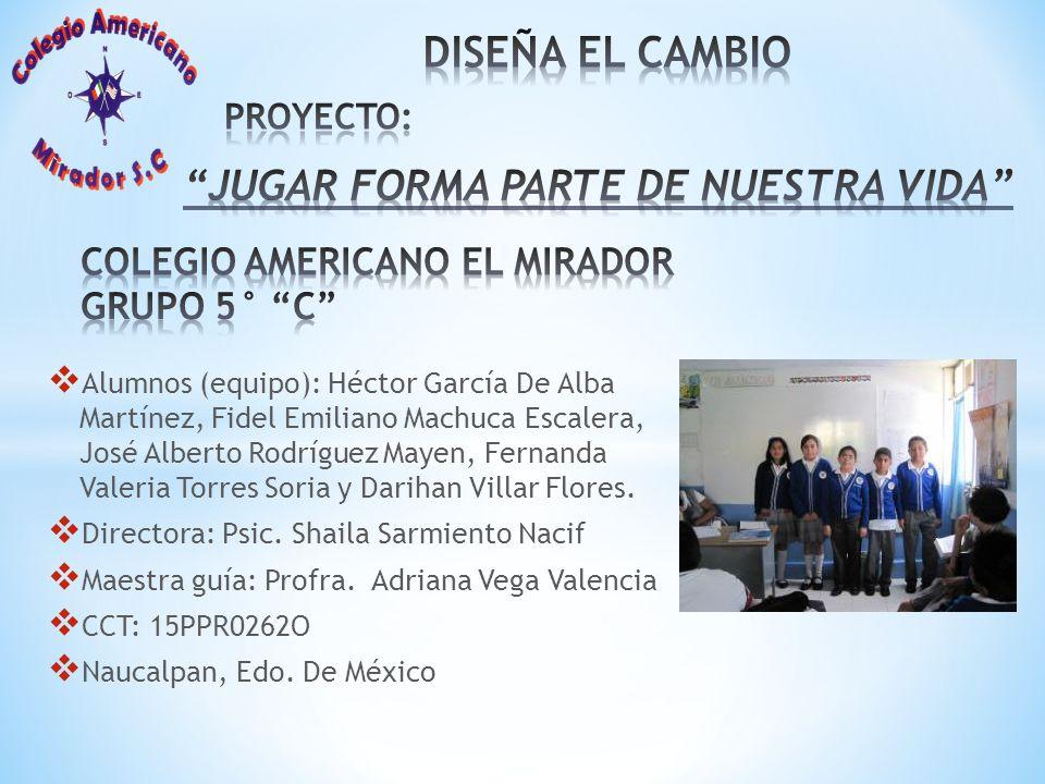 Alumnos (equipo): Héctor García De Alba Martínez, Fidel Emiliano Machuca Escalera, José Alberto Rodríguez Mayen, Fernanda Valeria Torres Soria y Darih