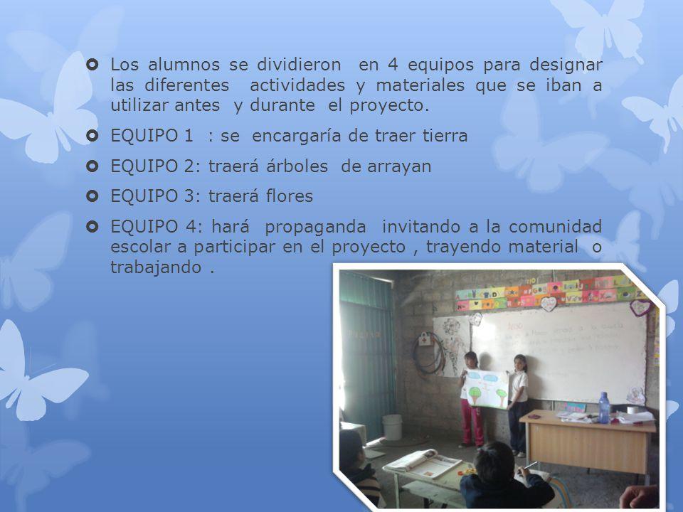 Los alumnos se dividieron en 4 equipos para designar las diferentes actividades y materiales que se iban a utilizar antes y durante el proyecto. EQUIP