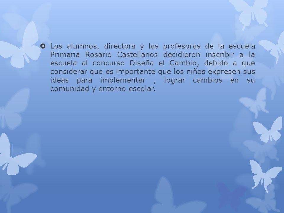 Los alumnos, directora y las profesoras de la escuela Primaria Rosario Castellanos decidieron inscribir a la escuela al concurso Diseña el Cambio, deb