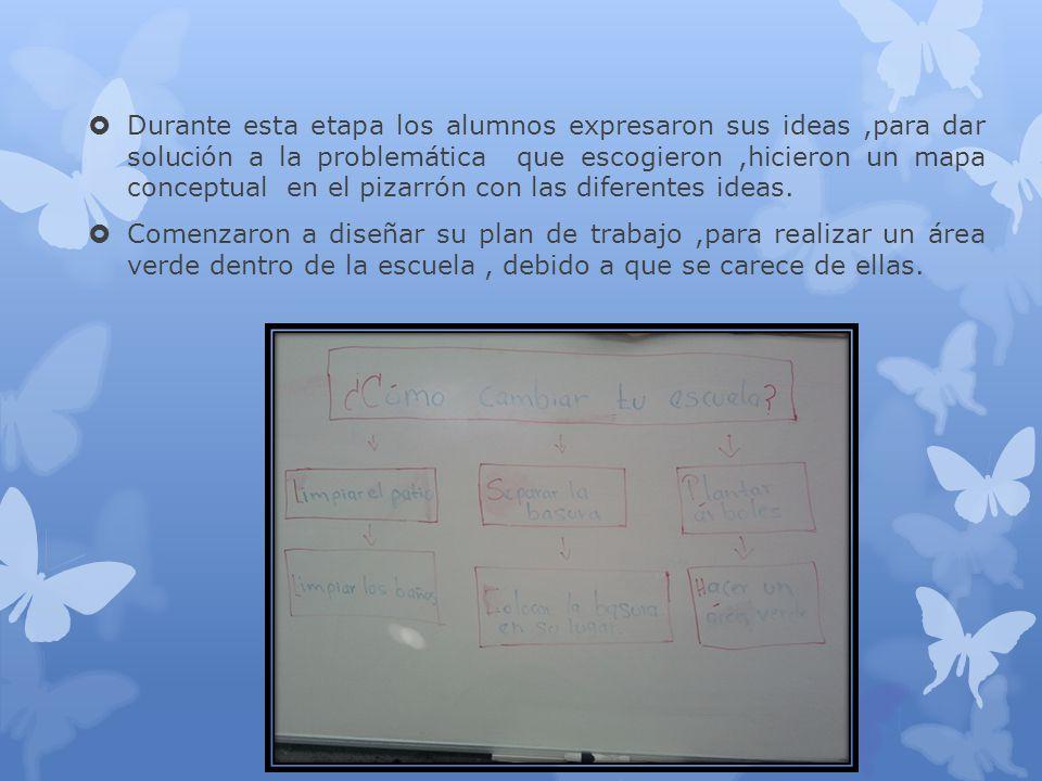 Durante esta etapa los alumnos expresaron sus ideas,para dar solución a la problemática que escogieron,hicieron un mapa conceptual en el pizarrón con