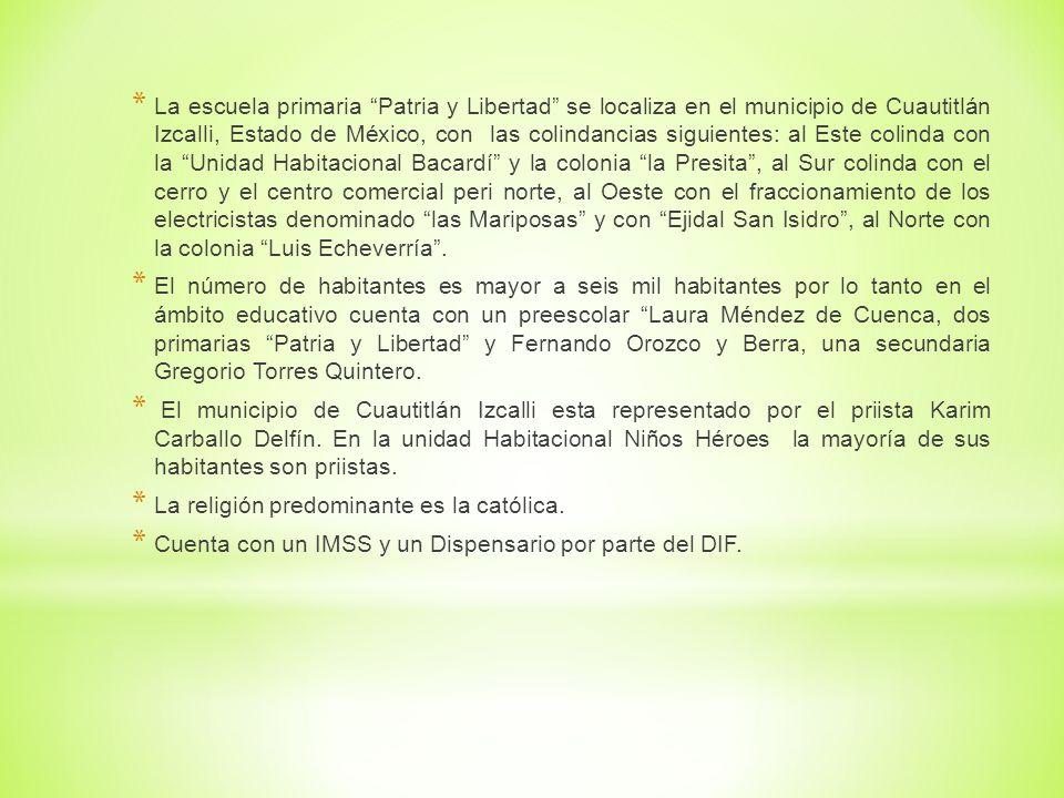 * La escuela primaria Patria y Libertad se localiza en el municipio de Cuautitlán Izcalli, Estado de México, con las colindancias siguientes: al Este